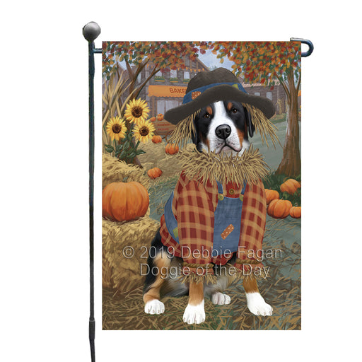 Halloween 'Round Town And Fall Pumpkin Scarecrow Both Greater Swiss Mountain Dogs Garden Flag GFLG65663