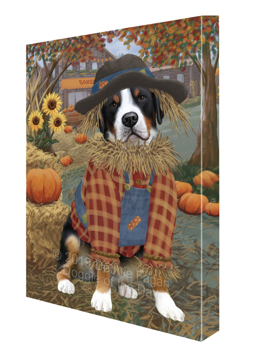 Halloween 'Round Town And Fall Pumpkin Scarecrow Both Greater Swiss Mountain Dogs Canvas Print Wall Art Décor CVS140156