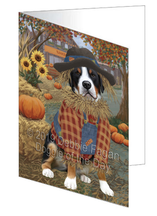 Fall Pumpkin Scarecrow Greater Swiss Mountain Dog Note Card NCD78035