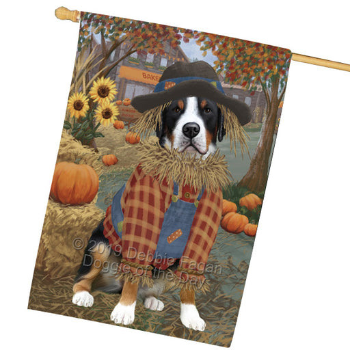 Halloween 'Round Town And Fall Pumpkin Scarecrow Both Greater Swiss Mountain Dogs House Flag FLG65719