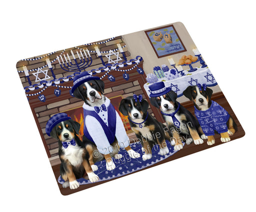 Happy Hanukkah Family and Happy Hanukkah Both Greater Swiss Mountain Dogs Large Refrigerator / Dishwasher Magnet RMAG105510