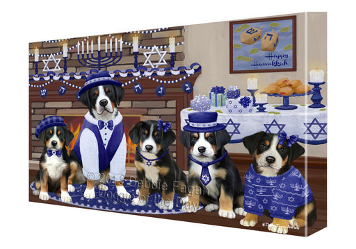 Happy Hanukkah Family and Happy Hanukkah Both Greater Swiss Mountain Dogs Canvas Print Wall Art Décor CVS141209