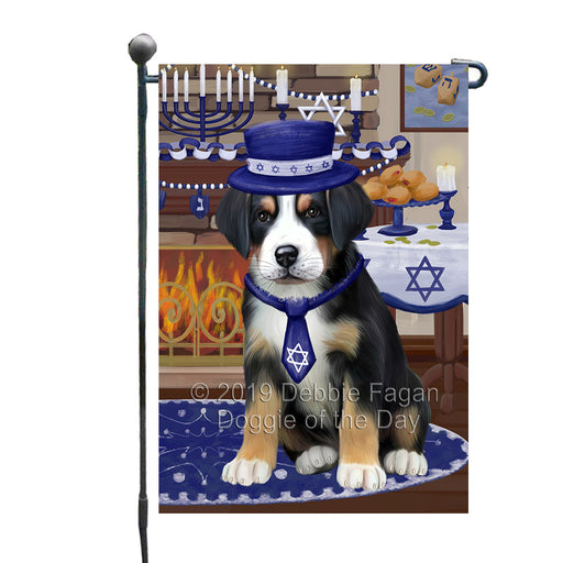 Happy Hanukkah Family and Happy Hanukkah Both Greater Swiss Mountain Dog Garden Flag GFLG65724