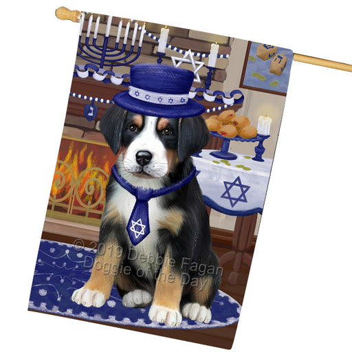 Happy Hanukkah Family and Happy Hanukkah Both Greater Swiss Mountain Dog House Flag FLG65780