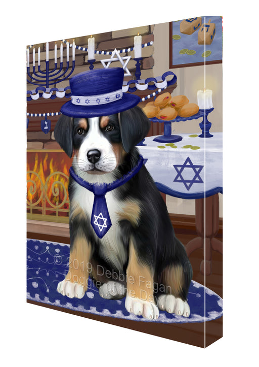 Happy Hanukkah Family and Happy Hanukkah Both Greater Swiss Mountain Dog Canvas Print Wall Art Décor CVS140705
