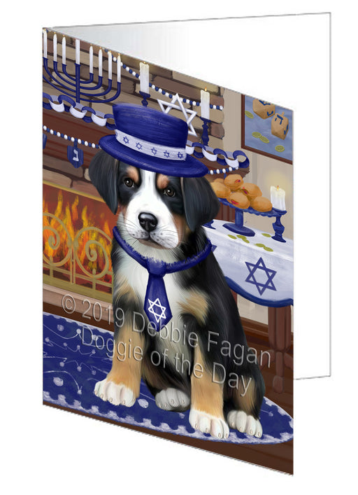 Happy Hanukkah Greater Swiss Mountain Dog Note Card NCD78386
