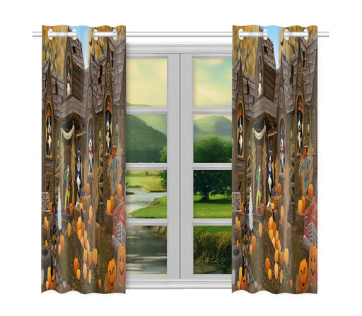 Haunted House Halloween Trick or Treat Greater Swiss Mountain Dogs Window Curtain