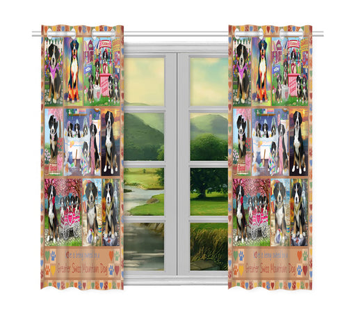 Love is Being Owned Greater Swiss Mountain Dog Beige Window Curtain