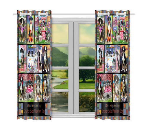 Love is Being Owned Greater Swiss Mountain Dog Grey Window Curtain