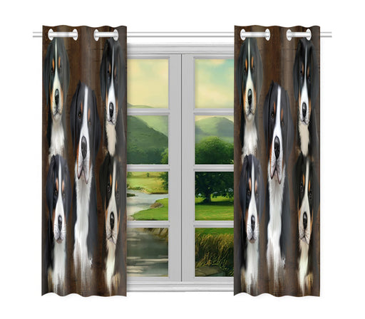 Rustic Greater Swiss Mountain Dogs Window Curtain