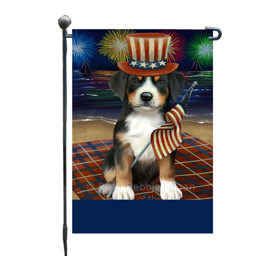 Personalized 4th of July Firework Greater Swiss Mountain Dog Custom Garden Flags GFLG-DOTD-A57940