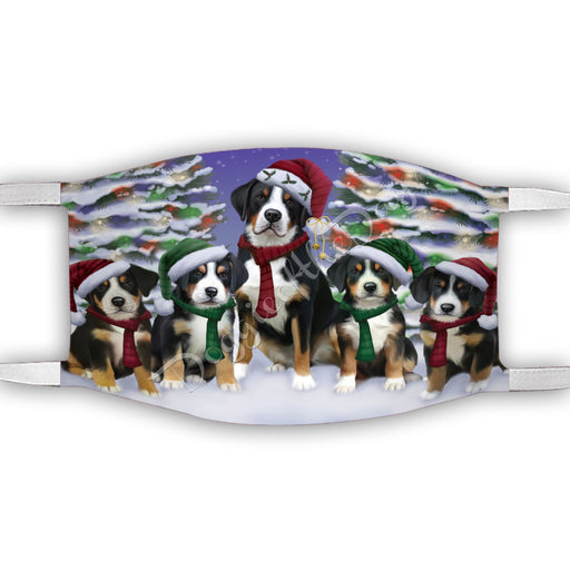 Greater Swiss Mountain Dogs Christmas Family Portrait in Holiday Scenic Background Face Mask FM48351