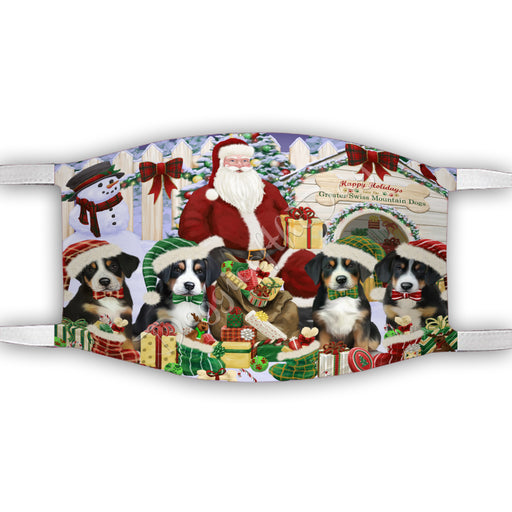 Happy Holidays Christmas Greater Swiss Mountain Dogs House Gathering Face Mask FM48254
