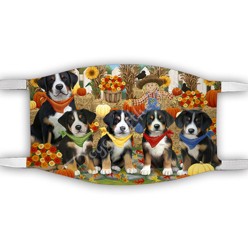 Fall Festive Harvest Time Gathering  Greater Swiss Mountain Dogs Face Mask FM48543