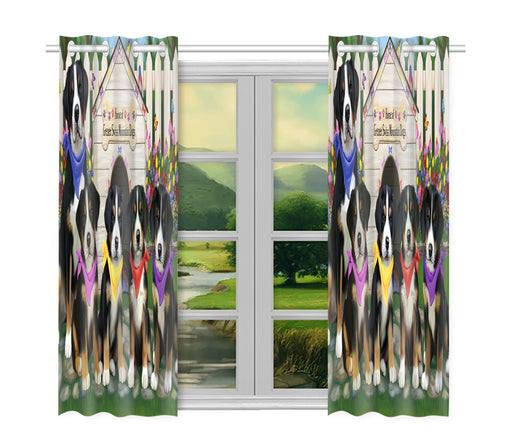 Spring Dog House Greater Swiss Mountain Dogs Window Curtain