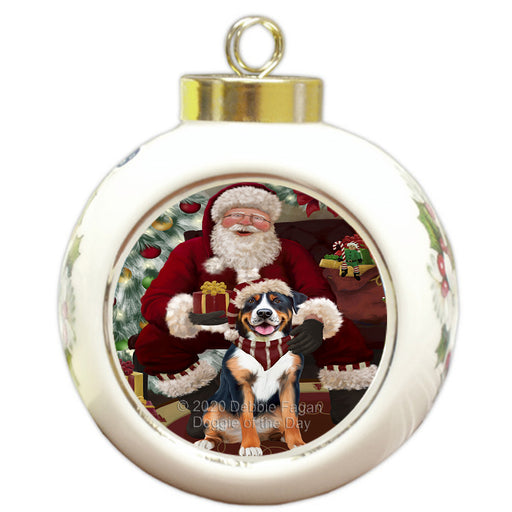 Santa's Christmas Surprise Greater Swiss Mountain Dog Round Ball Christmas Ornament RBPOR58030