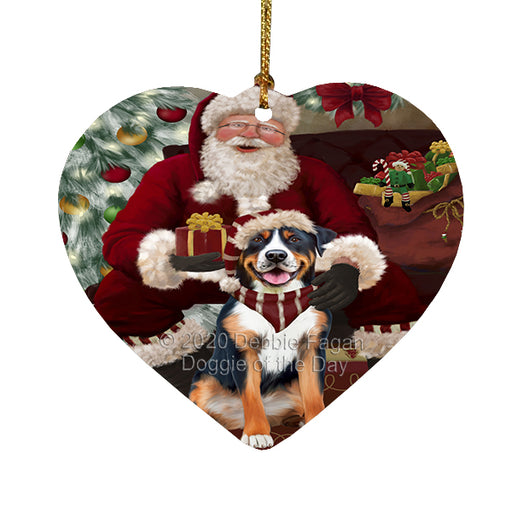 Santa's Christmas Surprise Greater Swiss Mountain Dog Heart Christmas Ornament RFPOR58372