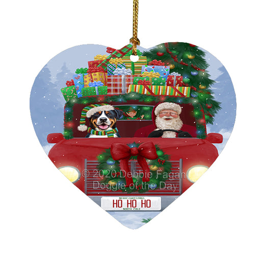 Christmas Honk Honk Red Truck Here Comes with Santa and Greater Swiss Mountain Dog Heart Christmas Ornament RFPOR58176