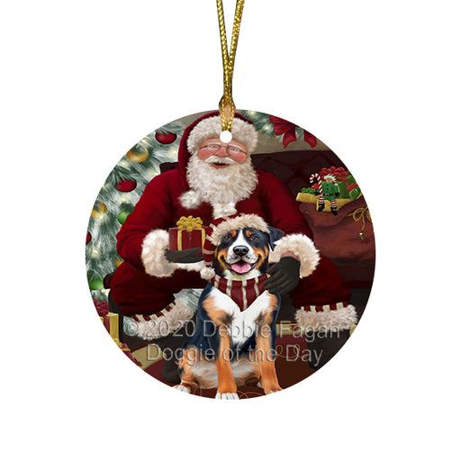 Santa's Christmas Surprise Greater Swiss Mountain Dog Round Flat Christmas Ornament RFPOR58030