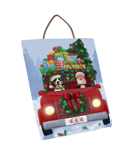 Christmas Honk Honk Red Truck Here Comes with Santa and Greater Swiss Mountain Dog Wall Décor Hanging Photo Slate SLTH58244