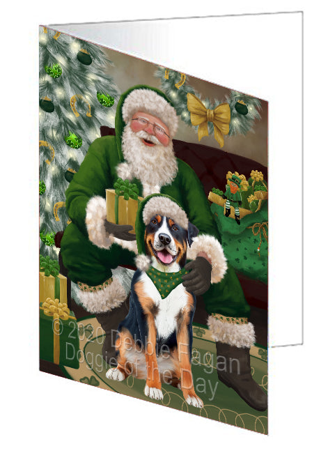 Christmas Irish Santa with Gift and Greater Swiss Mountain Dog Note Card NCD75866