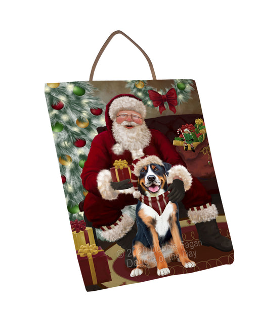 Santa's Christmas Surprise Greater Swiss Mountain Dog Wall Décor Hanging Photo Slate SLTH58440