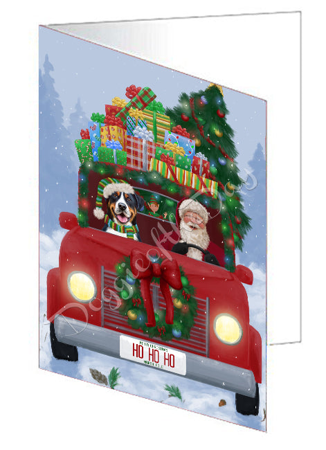 Christmas Honk Honk Red Truck Here Comes with Santa and Greater Swiss Mountain Dog Greeting Card GCD75572