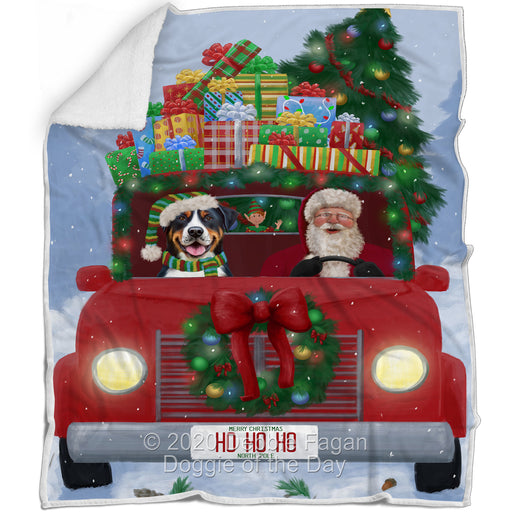 Christmas Honk Honk Red Truck Here Comes with Santa and Greater Swiss Mountain Dog Blanket BLNKT140878