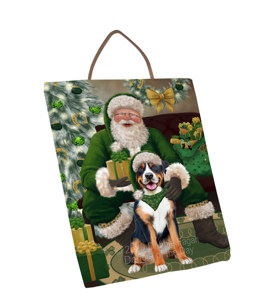Christmas Irish Santa with Gift and Greater Swiss Mountain Dog Wall Décor Hanging Photo Slate SLTH58342