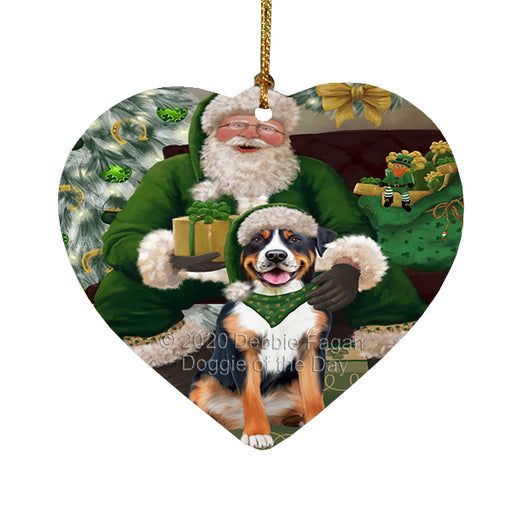 Christmas Irish Santa with Gift and Greater Swiss Mountain Dog Heart Christmas Ornament RFPOR58274