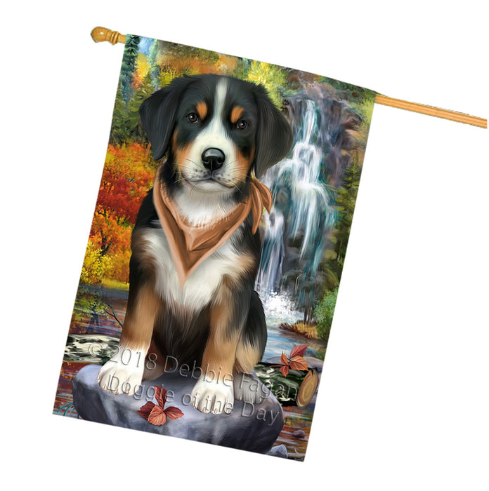 Scenic Waterfall Greater Swiss Mountain Dog House Flag FLG52033
