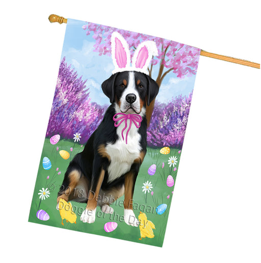 Easter Holiday Greater Swiss Mountain Dog House Flag FLG57613