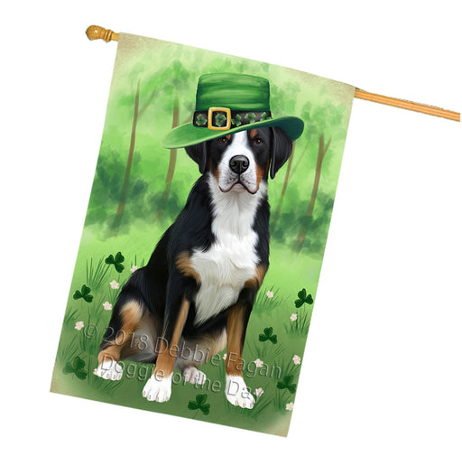 St. Patricks Day Irish Portrait Greater Swiss Mountain Dog House Flag FLG65035