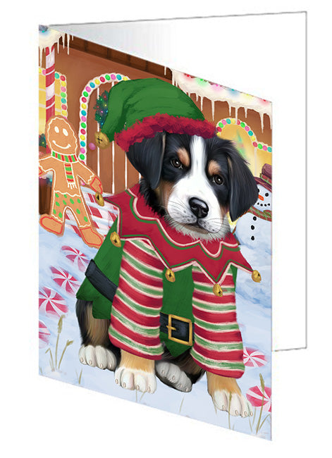 Christmas Gingerbread House Candyfest Greater Swiss Mountain Dog Note Card NCD73577