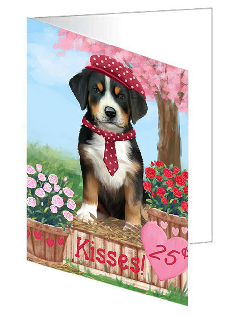 Rosie 25 Cent Kisses Greater Swiss Mountain Dog Note Card NCD72167