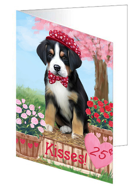 Rosie 25 Cent Kisses Greater Swiss Mountain Dog Note Card NCD72170