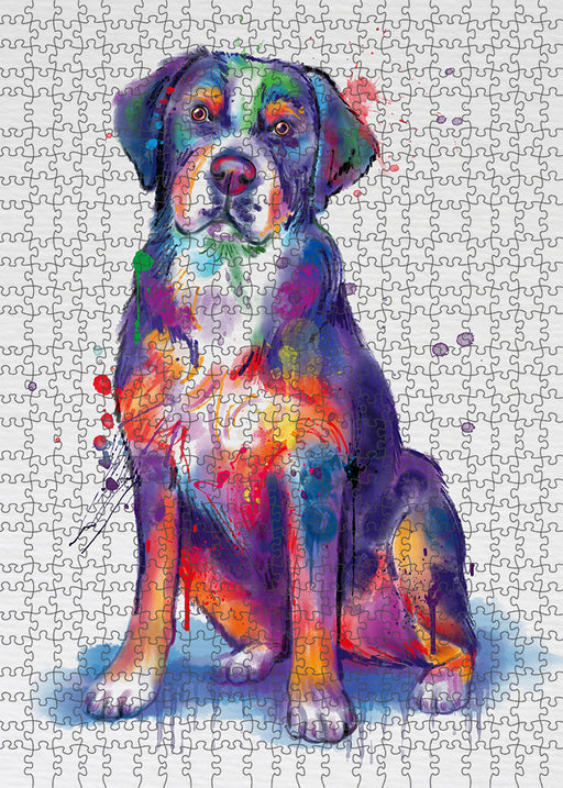 Watercolor Greater Swiss Mountain Dog Puzzle with Photo Tin PUZL97164