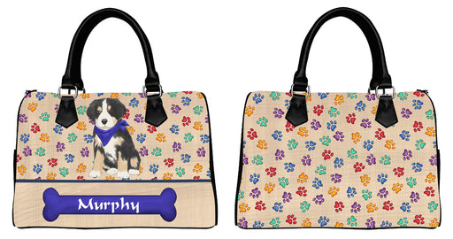 Custom Personalized Blue Paw Print Greater Swiss Mountain Dog Euramerican Tote Bag Greater Swiss Mountain Dog Boston Handbag