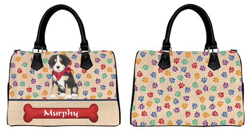 Custom PersonalizedRed Paw Print Greater Swiss Mountain Dog Euramerican Tote Bag Greater Swiss Mountain Dog Boston Handbag
