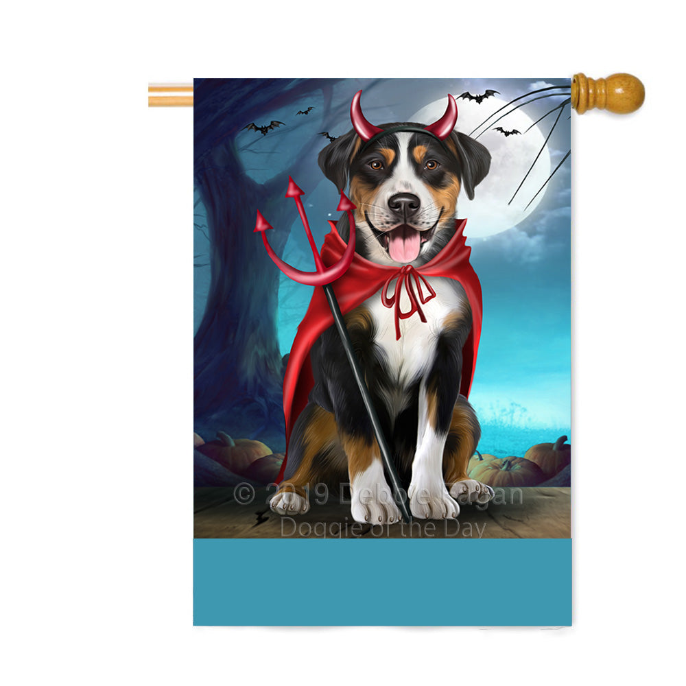 Personalized Happy Halloween Trick or Treat Greater Swiss Mountain Dog Devil Custom House Flag FLG64152