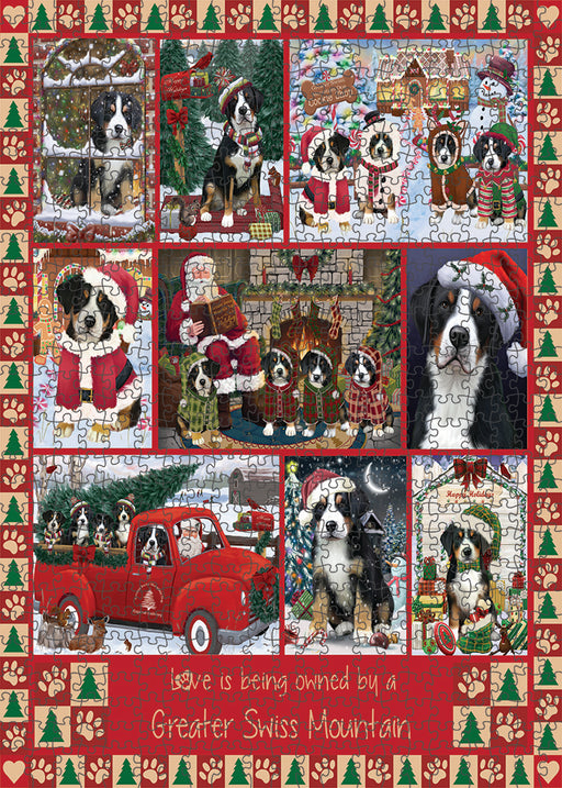 Love is Being Owned Christmas Greater Swiss Mountain Dogs Puzzle with Photo Tin PUZL99396