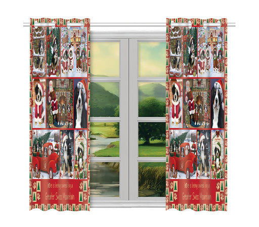 Love is Being Owned Christmas Greater Swiss Mountain Dogs Window Curtain