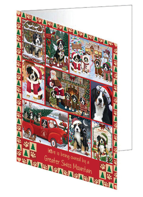 Love is Being Owned Christmas Greater Swiss Mountain Dogs Note Card NCD78917