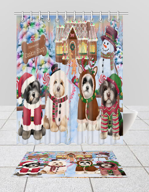 Holiday Gingerbread Cookie Havanese Dogs  Bath Mat and Shower Curtain Combo