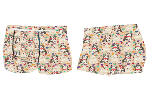 Rainbow Paw Print Havanese Dogs RedMen's All Over Print Boxer Briefs