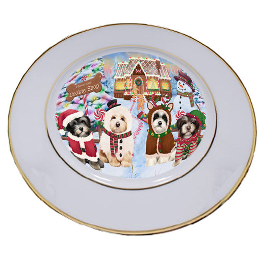 Holiday Gingerbread Cookie Shop Havaneses Dog Porcelain Plate PLT54755