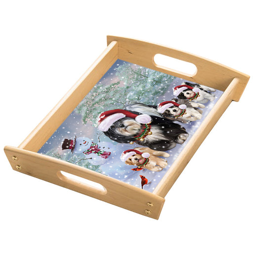 Christmas Running Family Havanese Dogs Wood Serving Tray with Handles Natural TRA49854