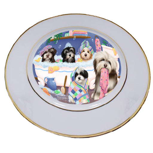 Rub A Dub Dogs In A Tub Havaneses Dog Porcelain Plate PLT55144
