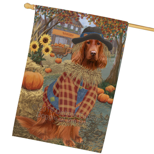 Halloween 'Round Town And Fall Pumpkin Scarecrow Both Irish Red Setter Dogs House Flag FLG65721