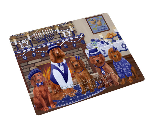 Happy Hanukkah Family and Happy Hanukkah Both Irish Red Setter Dogs Large Refrigerator / Dishwasher Magnet RMAG105522
